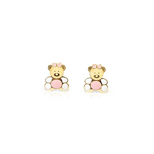 Monde Petit T1854PR - Orecchini per bambini, oro giallo 18k (750)