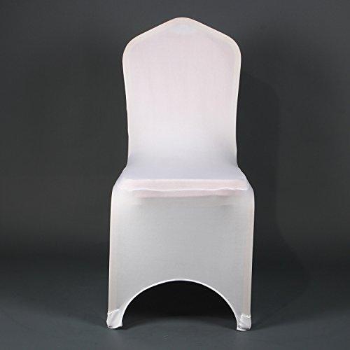 awillhome Stuhl Bezüge Moderner Dicker werden dehnbar Schonbezug für Hochzeit Bankett Party Jahrestag Esszimmerstuhl Bezug weiß weiß (Lycra Böden Qualität Hohe)