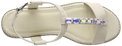 New Look Gemstone T-Bar Low Block, Sandali donna Beige (Beige)