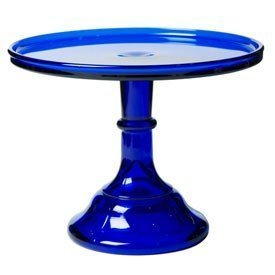 9 Cobalt Blue Glass Cake Stand Plate Bakers Quality by Mosser Glassware -