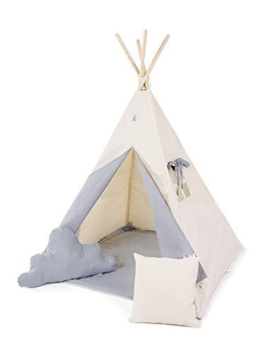 Golden Kids Kinder Spielzelt Teepee Tipi Set für Kinder drinnen draußen Spielzeug Zelt Indianer Indianertipi Tipi mit & ohne Zubehör (mit Zubehör (klein), Grauer Wolf) -