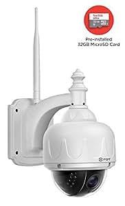 FDT Outdoor PTZ (4x Optical Zoom) HD 960p WiFi IP Camera (1.3 Megapixel), IP65 Weatherproof, Wireless Security Camera FD7903 (White), Pan/Tilt/Zoom, Night Vision - 65ft (20meters) w/ 32GB SD Card