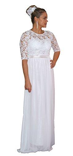 Brautkleid Spitze lang Hochzeitskleid S M L XL XXL XXXL XXXXL Braut Kleid Standesamt Weiß (38/M)