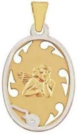 Bijoux pour tous - Colgante de oro bicolor de 9 quilates con diamante (.003)