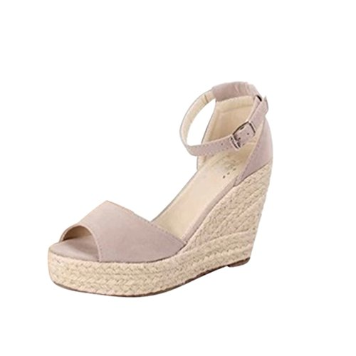 Lvguang sandali donna elegante casuale sandali con zeppa tacchi spessi basse aperte peep toe sandali grigio#1,asia 40(25cm)