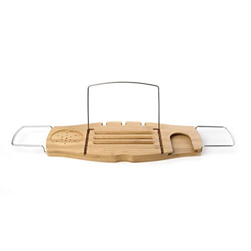 Umbra 020390-390 Aquala Badcaddy, Badewannablage mit Buchstütze und Glashalter,Bambus, natur