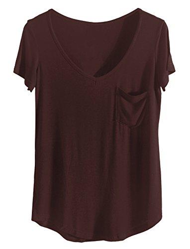 iClosam Tshirts Damen Sommer Casual Elegante 2018 Tunika Top V Ausschnitt mit Tasche. (Large, Kaffee) (Braune T-shirts)