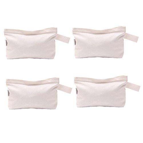 Augbunny 4er Pack Mehrzwecktaschen aus Baumwollleinen mit Reißverschluss für Kosmetik weiß - Rei-laptop-taschen