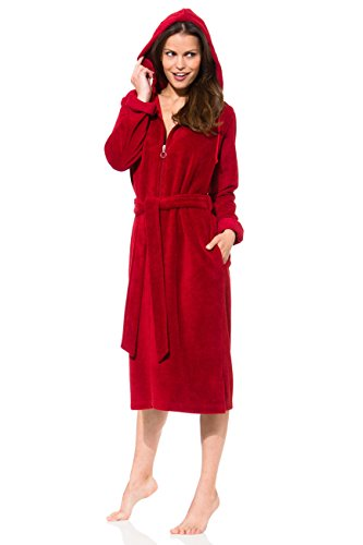 Morgenstern Damen Bademantel mit Reißverschluss in Rot, Rot ( Dunkelrot ), M