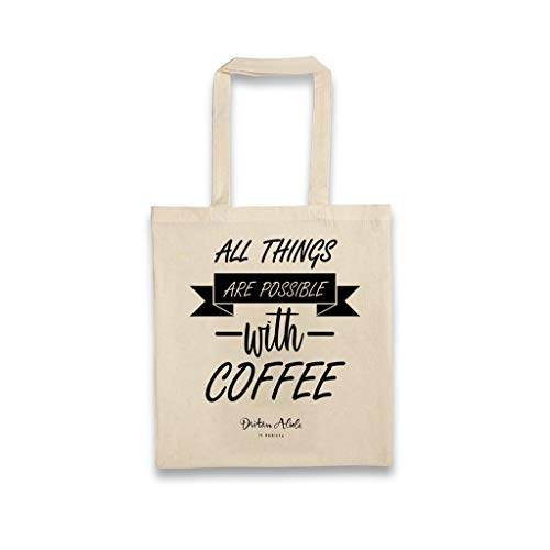 Dritan Alsela All things are possible with coffee Canvas Bag Jutebeutel Tasche Beutel (Possibles Tasche)