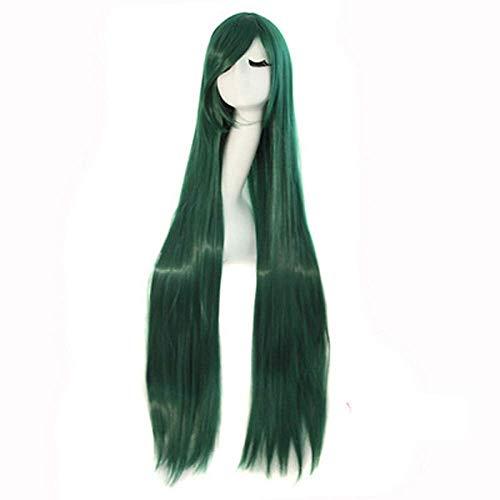 Cosplay lange glatte Haare Hochtemperaturdraht dunkelgrüne synthetische Perücke heißer Verkauf Halloween (Perücken Verkauf Halloween)