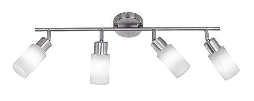 Trio Leuchten LED-Balken Nickel matt, Glas weiß gewischt 871410407