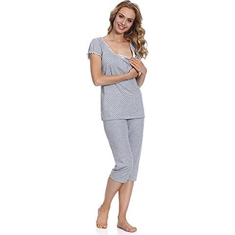 Italian Fashion IF Lactancia Pijama Camisón para mujer Montana Mama 0225