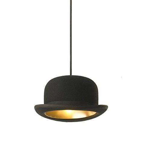 Suspension chapeau métal noir et or
