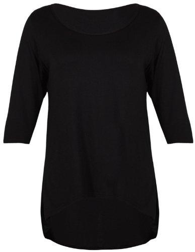 Purple Hanger - Damen Einfarbige T-Shirt 3/4 Arm Schwalbenschwanz Tiefer Saum Runder Aussschnitt Übergröße - EU 44-46, Schwarz (3/4 Arm T-shirt)