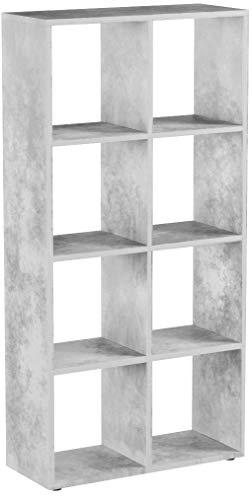 VICCO Raumteiler Scutum 8 Fächer Bücherregal Standregal Aktenregal Raumtrenner (Beton)