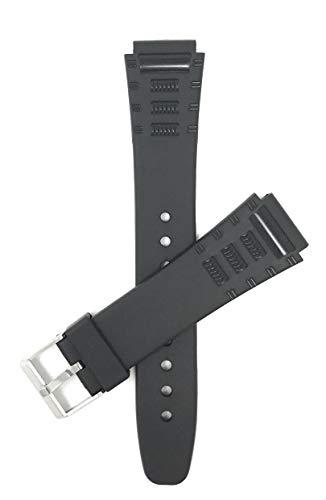 Bandini 18mm Schwarz Gummi Uhrenarmband für Casio, Timex & Mehr, Sports, 2 Federstege inklusive