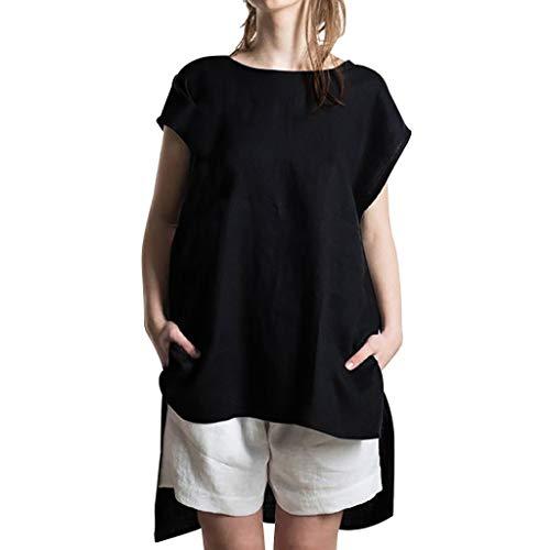 HULKY 2019 Fashion T-Shirt Damen Casual O-Neck Unregelmäßiger Saum Kurzarm Tops Sommer Einfarbig Lose Bluse(Schwarz,XL)