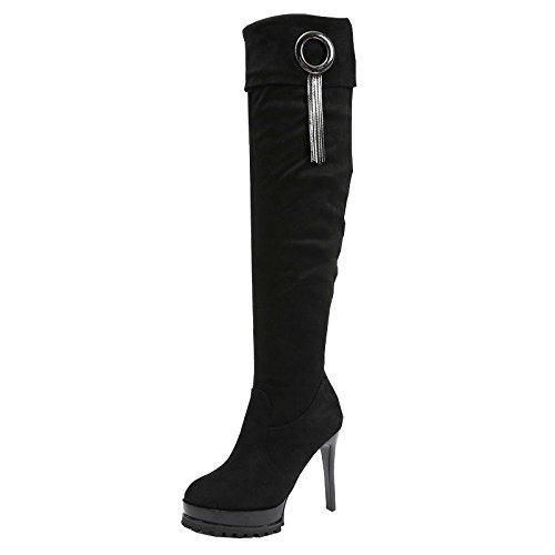 HBDLH Damenschuhe/Stiefel Herbst Winter Gut Wasserdicht Knie Dünne Hohe Stiefel Fransen 11Cm High Heels.36 Schwarz (Knie Schnalle Stiletto Heel Stiefel)