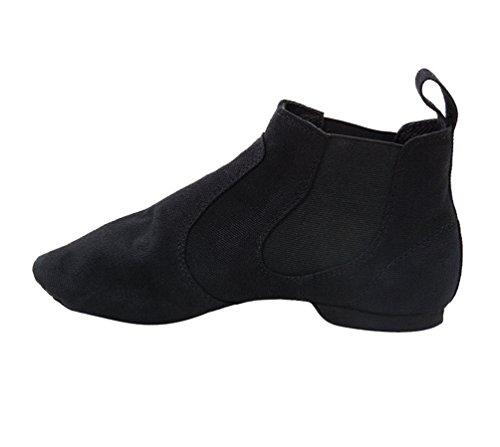 Byqny Erwachsene Kinder Leinwand Atmungsaktiv Jazz Schuhe Stiefel Ballett Schuhe Sport Schuhe Weicher Boden Jazzstiefel Schwarz 42(Longitud 26 cm)