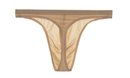 Soojun Herren Traceless Sexy Thongs Low Rise Unterwäsche Ice Silk Briefs XX-Large (paßt wie US X-Large) Khaki -