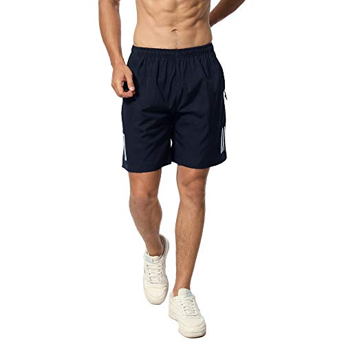 CHYU Sporthose Kurz Herren Soft Comfort Schnelltrocknend mit Reißverschlusstasche Sport Shorts Jogginghos (Reines Blau, M) (Armour Herren Cargo-shorts Under)