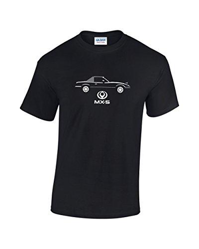 mazda-mx5-roadster-coches-clasicos-camiseta-negro-negro-blanco-x-large
