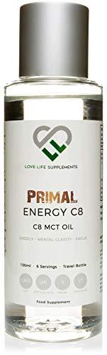 Primal Energy C8 MCT-Öl von LLS   100ml Flasche - 6 Portionen   Caprylsäure wandelt sich schneller in Ketone um   BPA-freie Flasche   In Großbritannien unter GMP-Lizenz abgefüllt