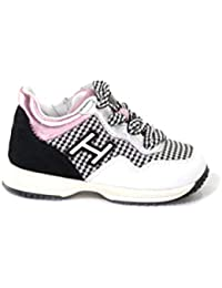 a608282e52be82 Hogan Interactive Zip Scarpa Sneakers Bambina Junior MOD. HXT0920V311IB  Bianco e Nero