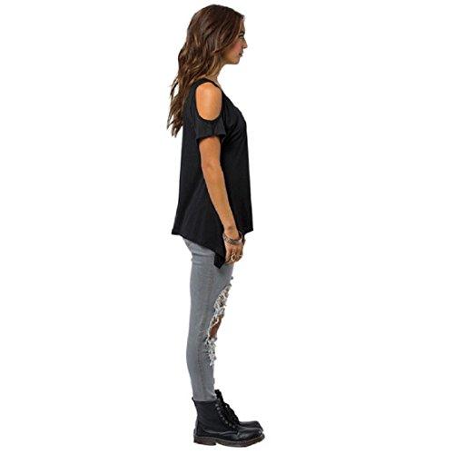 Culater® Femmes Mode col V Encolure T-shirt extensible solide T-shirt Noir