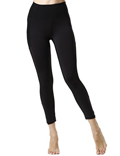 icyzone Damen Sport Leggings Yoga Trainings Hohe Taille Sporthose Stretch Hose mit Tech Mesh (Black, XL)
