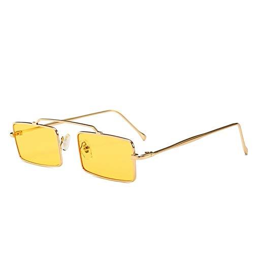 MJDABAOFA Sonnenbrillen,Retro Kleine Rechteckige Sonnenbrille Gold Frame Gelbe Linse Frauen Vintage Designer Inspiriert Sonnenbrillen Damen Für Schutzbrillen Quadrat Schattierungen Brillen