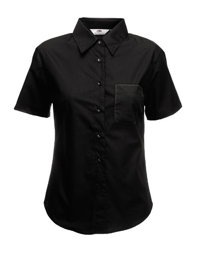 Fruit of the Loom Ladyfit poplin Short Sleeve Shir - Black - UK 8 / US 4 / EU 36 -