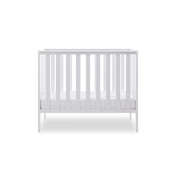 Obaby Bantam Space Saver Cot, White Obaby Adjustable, 3 position base height Beautiful slatted ends and sides help you keep an eye on your little one Teething rails ensure delicate teeth are protected 4