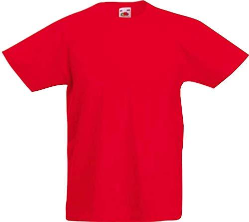 ShirtInStyle Kinder-Shirt Basic UNI Fruit of the Loom, Farbe Rot, Größe 104