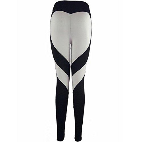 Vertvie Femme Leggings de Sport Pantalon Collant Skinny Butt Lifter Stretch Extensible Motif en Forme Cœur pour Yoga Fitness Jogging Noir/Gris