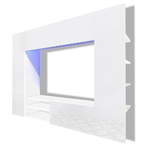 Vidaxl supporto da parete bianco brillante led per tv lcd monitor plasma 169,2cm