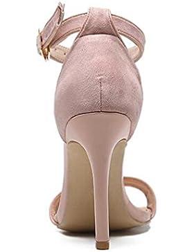 10 cm Suede hebilla tobillo correas sandalias partido tacón de aguja elegantes verano señoras abierto toe sandalias...