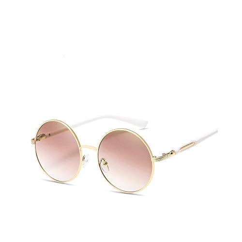 WJFDSGYG Kreisförmige Sonnenbrille Frauen Silber Gold Metallrahmen Rosa Runde Sonnenbrille Für Männer Uv400