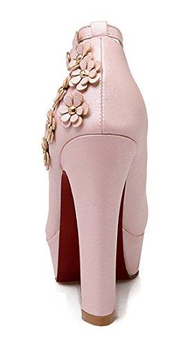 YE Damen Blockabsatz High Heels Plateau Pumps mit Riemchen und Blume Schnalle Elegant Party Schuhe Rosa