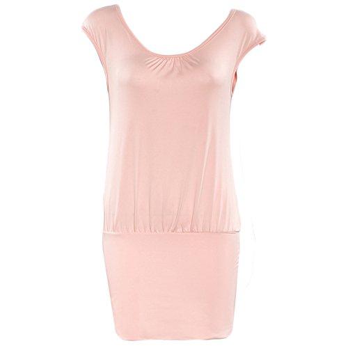 Frauen Mode Rundkragen Kurzarm Spleiß Falten Beiläufige Kleid Minikleid Beachwear Freizeitkleid Strandkleider Etuikleider Freizeitkleider Rosa