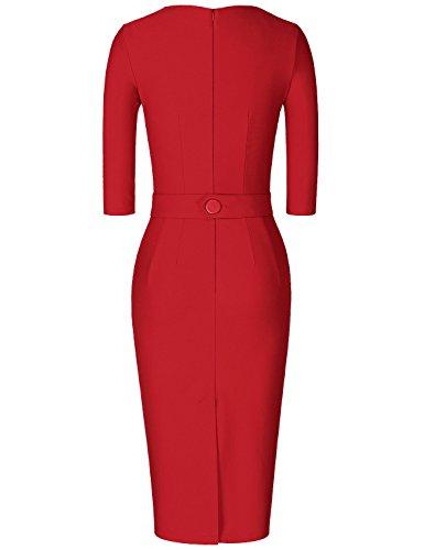 MUXXN Jupe fourreau femme de style classique avec les manches trois quarts red