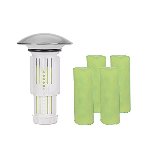 Abflussfee 00024 Verschlussstopfen (weiß, inkl. 5 Duftsteine mit Apfel-Zitrone-Geruch)