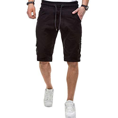 Sportliche Fleece Knit Pants (ZHANSANFM Herren Unifarben Shorts Cargo Kurze Stretch Hose Sommer Freizeit Fitness Beachshorts Basic Casual Strandshorts Outdoor Urlaub Taschen Beachshorts Retro Loose Fit (2XL, Schwarz))