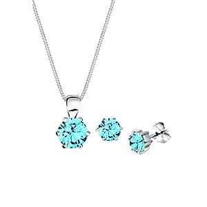 Elli Damen Schmuckset Halskette mit Ohrringen Basic mit Swarovski Kristallen in 925 Sterling Silber 45 cm lang