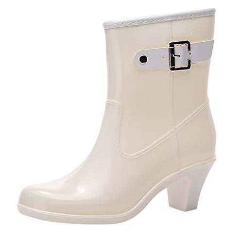 Dorical Wasserdicht Stiefel für Damen/Frauen Gummistiefel Halbschaft Regen Stiefel Hohe Knöchel Boots Gummistiefeln der Frauen Glatt Stiefeletten(Weiß,38 EU)