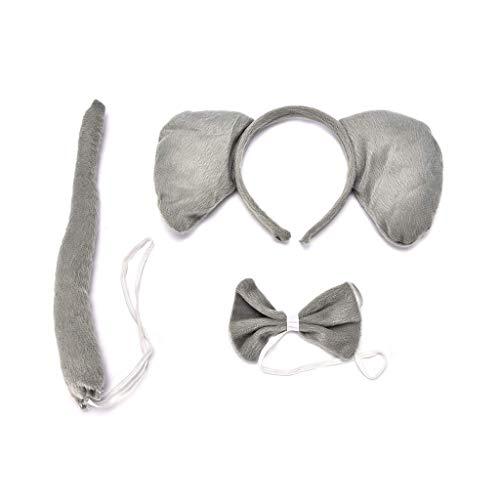JUNESUN Kind Erwachsene Tierkostüm Set Große Elefantenohren Stirnband Fliege Langen Schwanz Halloween Party Favors Cosplay Kit Geburtstag Dekor