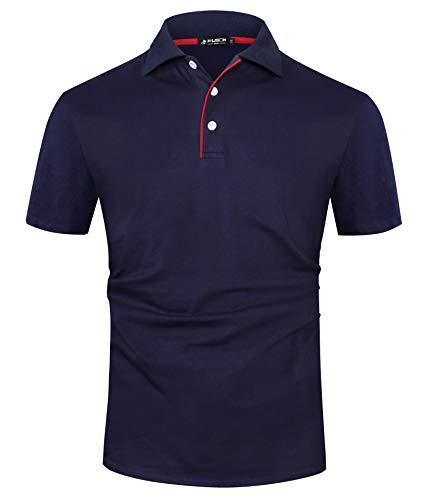 Kuson Herren Poloshirt Kurzarm Patchwork Sommer T-Shirt Men\'s Polo Shirt Baumwolle Navyblau S