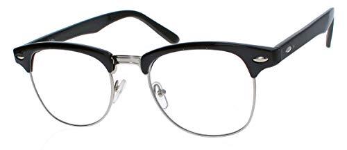 rdies 50er Jahre Retro Nerd Brille Halbrahmen Hornbrille Clubmaster Stil Rockabilly Streberbrille (Schwarz/Silber) ()
