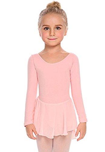 Kinder Ballettanzug Langarm Ballett Trikot Tanzbody mit Röckchen Mädchen Ballettbody Kleider (Kleid Criss-cross-ausschnitt)